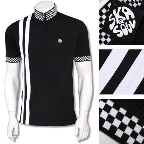 Ska & Soul Mens Ska 2Tone Racing Stripe Cycling Top Black Thumbnail 1