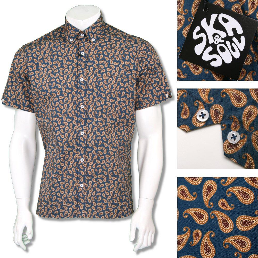 Ska & Soul Mens Retro Paisley Print Short Sleeve Shirt Blue