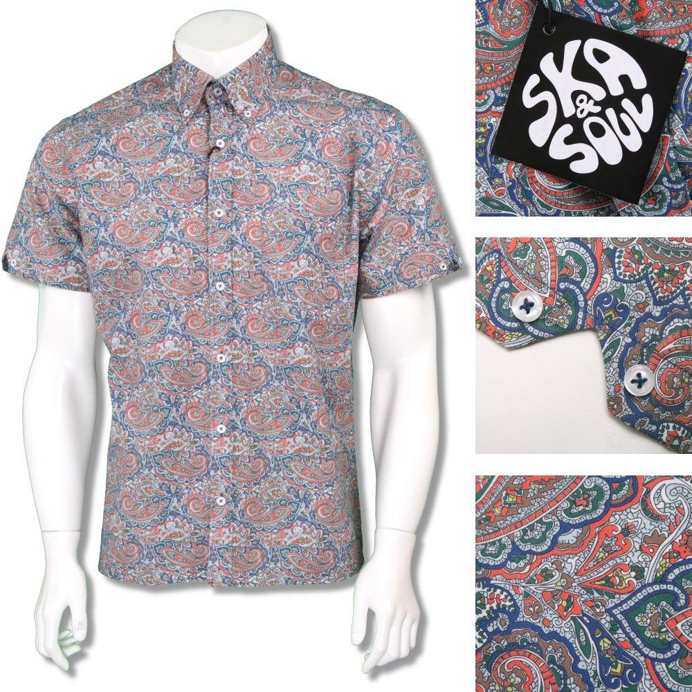 Ska & Soul Mens Retro Paisley Print Short Sleeve Shirt Multi