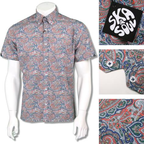 Ska & Soul Mens Retro Paisley Print Short Sleeve Shirt Multi Thumbnail 1