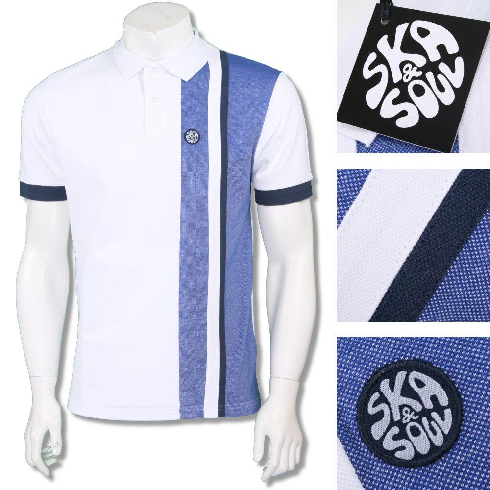 Ska & Soul Mens Tonic Racing Stripe Pique Polo Shirt White