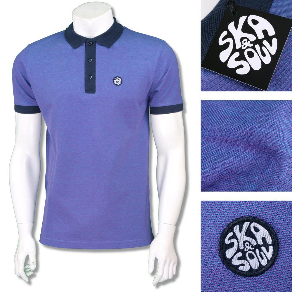 Ska & Soul Mens 2Tone Tonic Contrast Collar Polo Shirt Purple