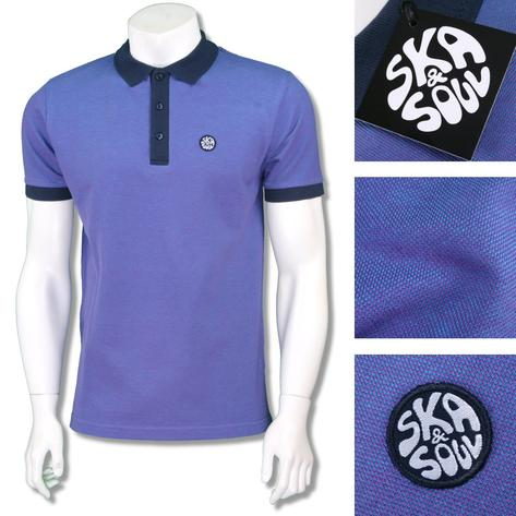 Ska & Soul Mens 2Tone Tonic Contrast Collar Polo Shirt Purple Thumbnail 1