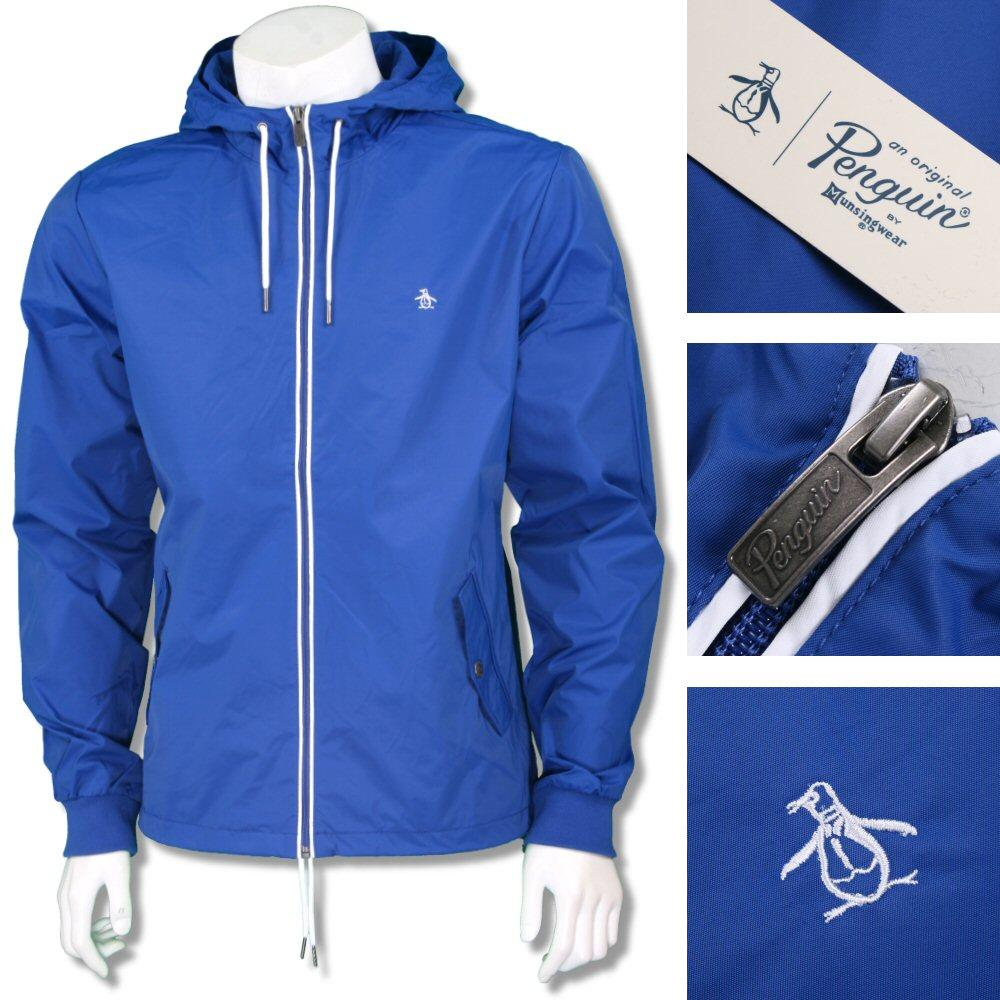 Penguin Original Mens Hooded Windbreaker Cagoule Jacket Blue