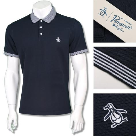 Penguin Original Mens Retro Fine Stripe Collar Polo Shirt Navy Thumbnail 1