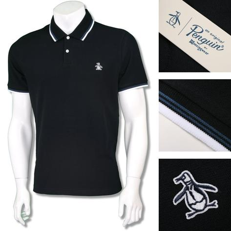 Penguin Original Mens Retro Raised Badge Polo Shirt Thumbnail 2