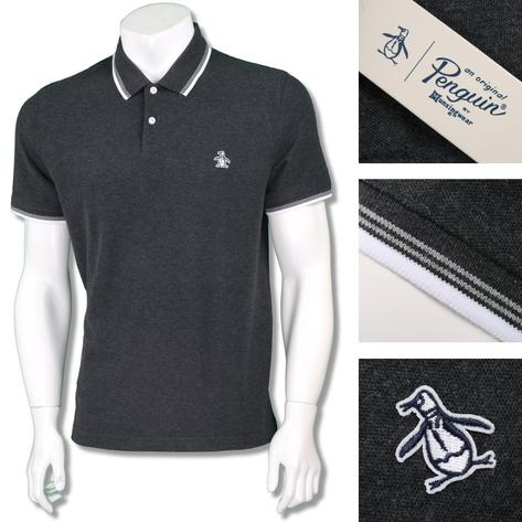 Penguin Original Mens Retro Raised Badge Polo Shirt Thumbnail 3