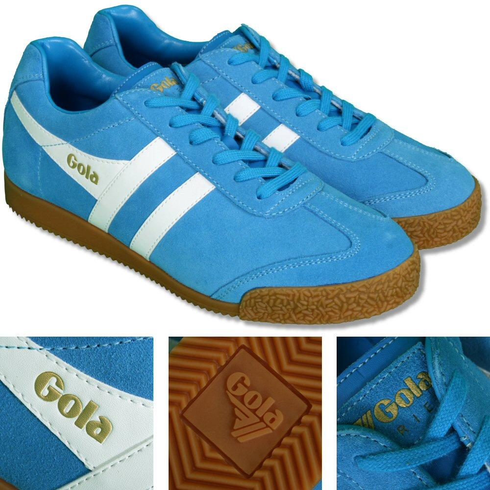 Gola Harrier Classic Twin Stripe Suede Mens Trainer Blue / White