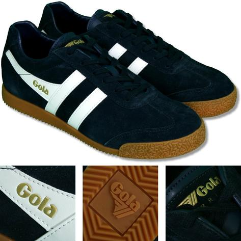 Gola Harrier Classic Twin Stripe Suede Mens Trainer Navy / White Thumbnail 1