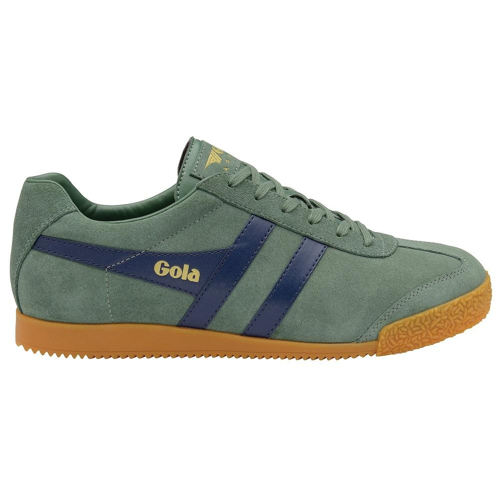 Gola Harrier Classic Twin Stripe Suede Mens Trainer Sage / Navy