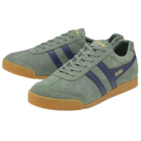 Gola Harrier Classic Twin Stripe Suede Mens Trainer Sage / Navy Thumbnail 2