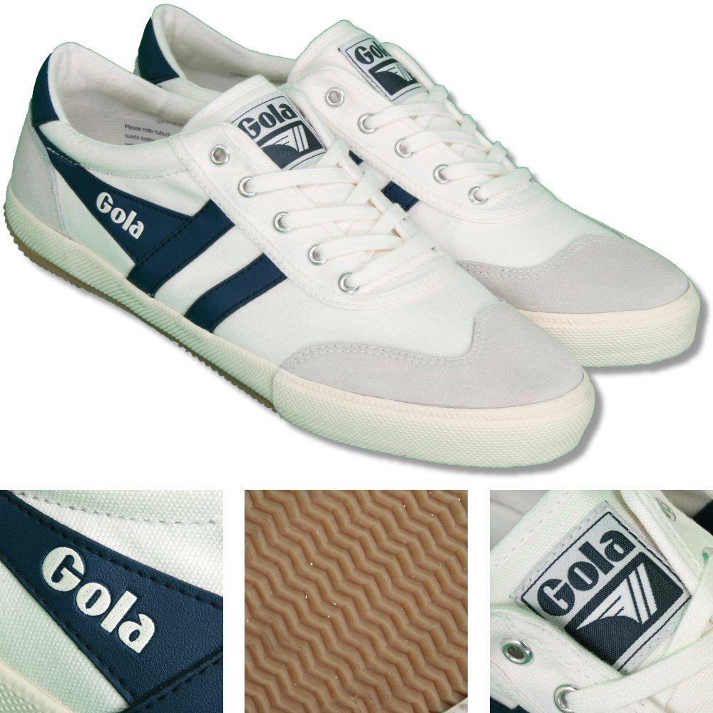 Gola Badminton Classic Retro Canvas Stripe Mens Trainer Ecru / Navy