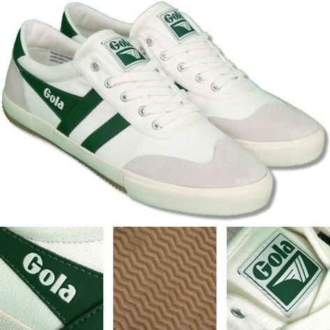Gola Badminton Classic Retro Canvas Stripe Mens Trainer Ecru / Green Thumbnail 1