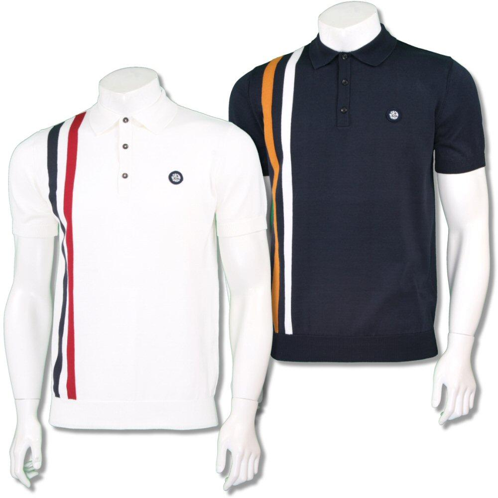Ska & Soul Mens Mod Retro Racing Stripe Knit Polo Shirt