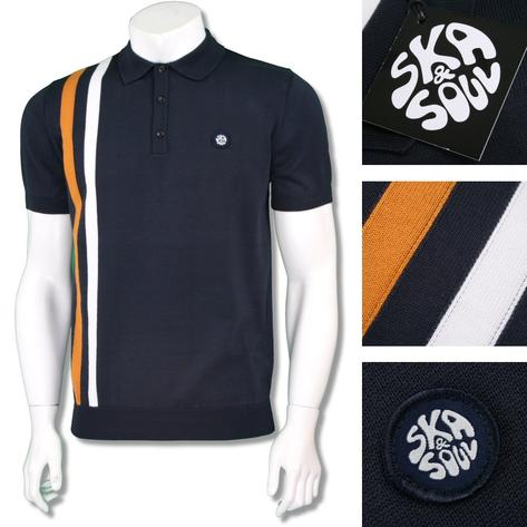 Ska & Soul Mens Mod Retro Racing Stripe Knit Polo Shirt Thumbnail 3