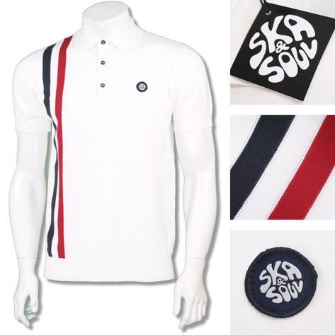 Ska & Soul Mens Mod Retro Racing Stripe Knit Polo Shirt Thumbnail 2