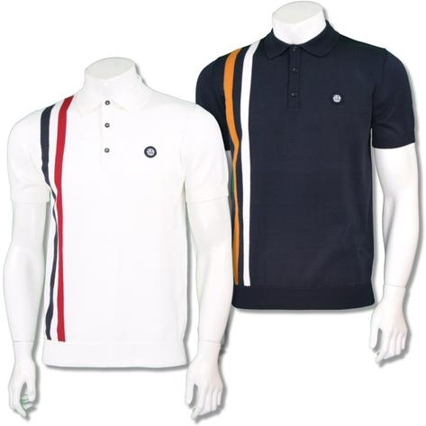 Ska & Soul Mens Mod Retro Racing Stripe Knit Polo Shirt Thumbnail 1