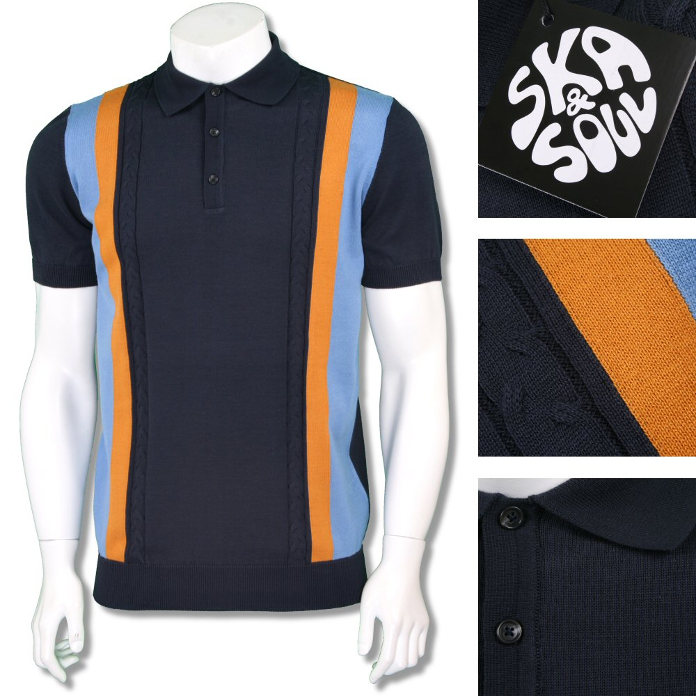 SKA /& SOUL 2251 navy blue cable front 100/% cotton polo shirt size medium-2XL