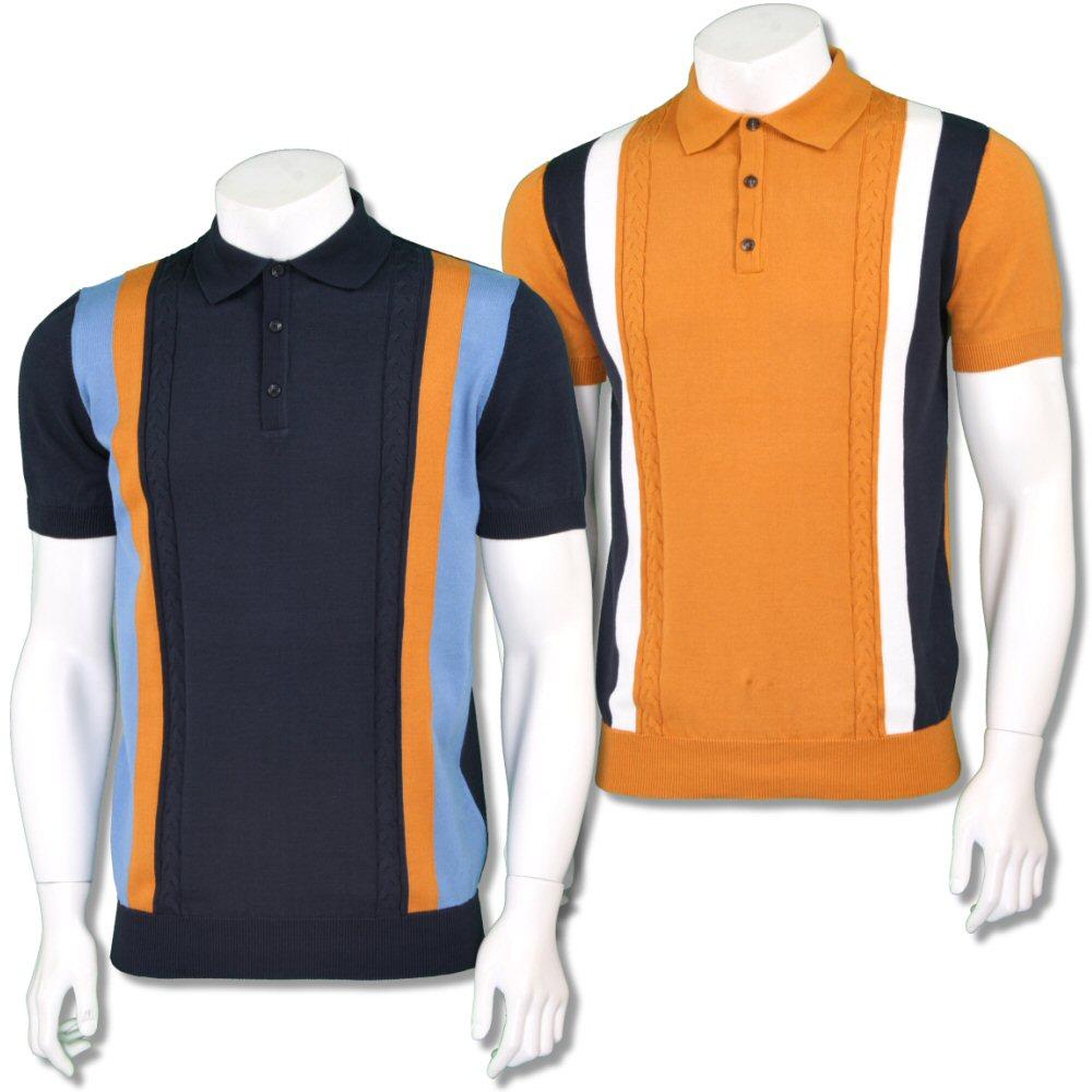 d5e4283ecaf4 Ska   Soul Mens Mod Retro Stripe Cable Knit Polo Shirt