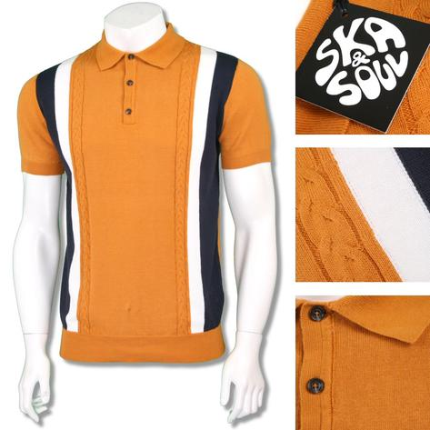 Ska & Soul Mens Mod Retro Stripe Cable Knit Polo Shirt Thumbnail 3