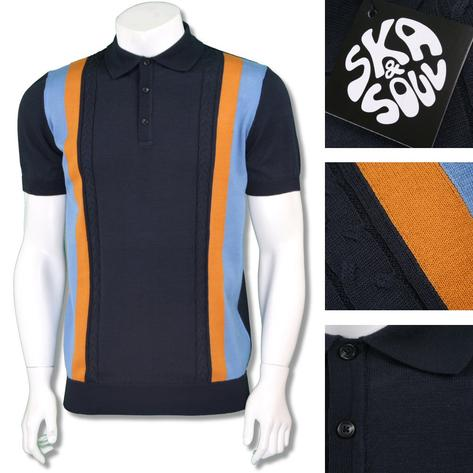 Ska & Soul Mens Mod Retro Stripe Cable Knit Polo Shirt Thumbnail 2