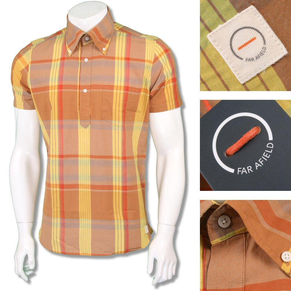 Far Afield Mens Retro Madras Check Pop Over Shirt Tan