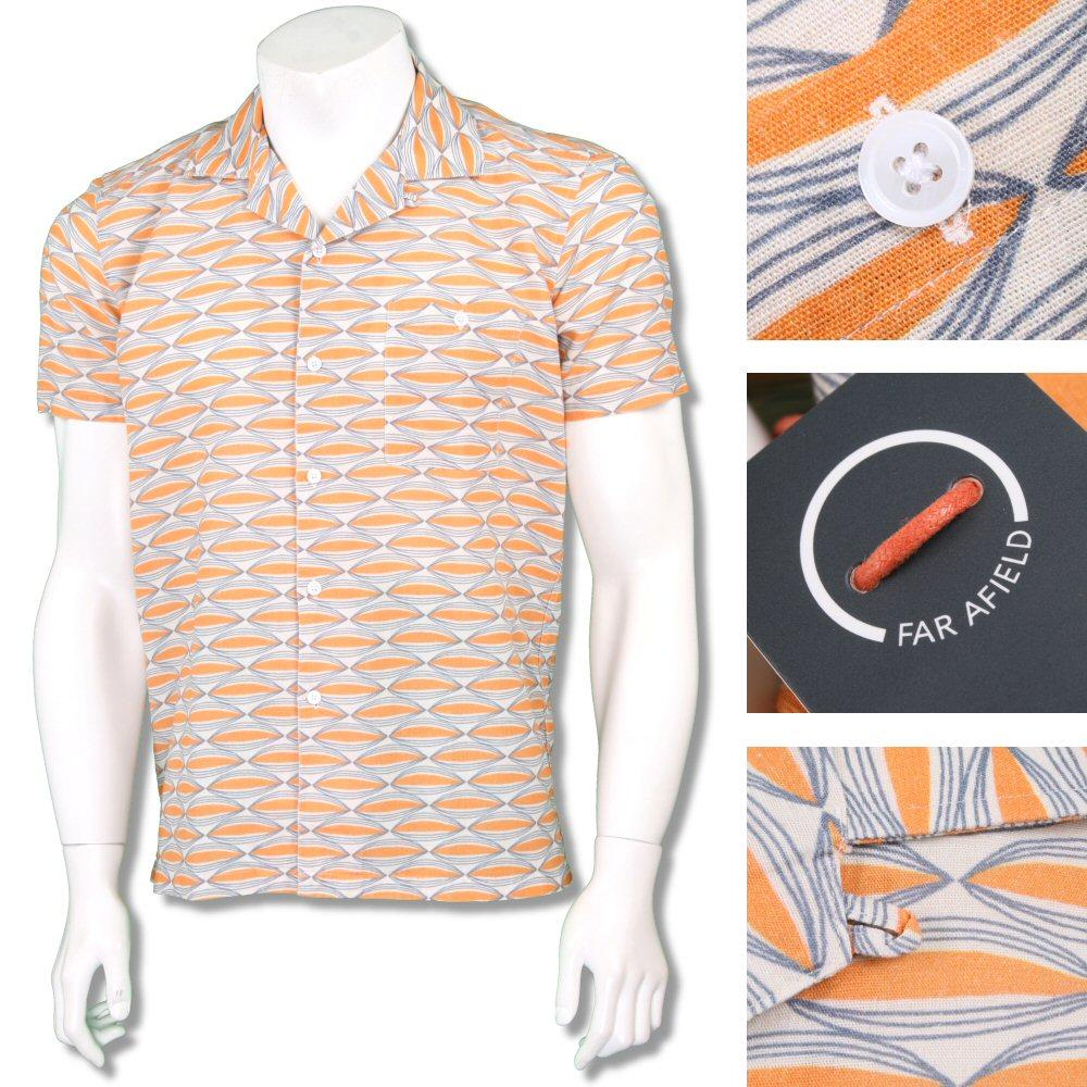 Far Afield Mens Retro Revere Collar Patterned Shirt Orange