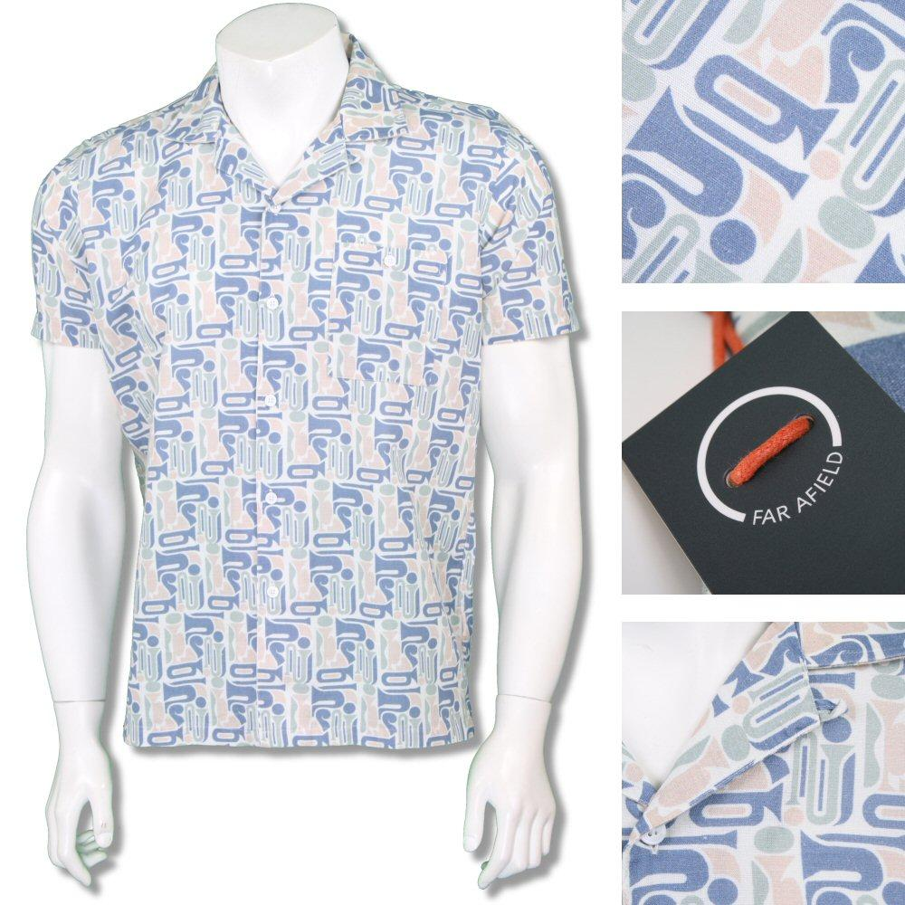 Far Afield Mens Retro Revere Collar Patterned Shirt Stone