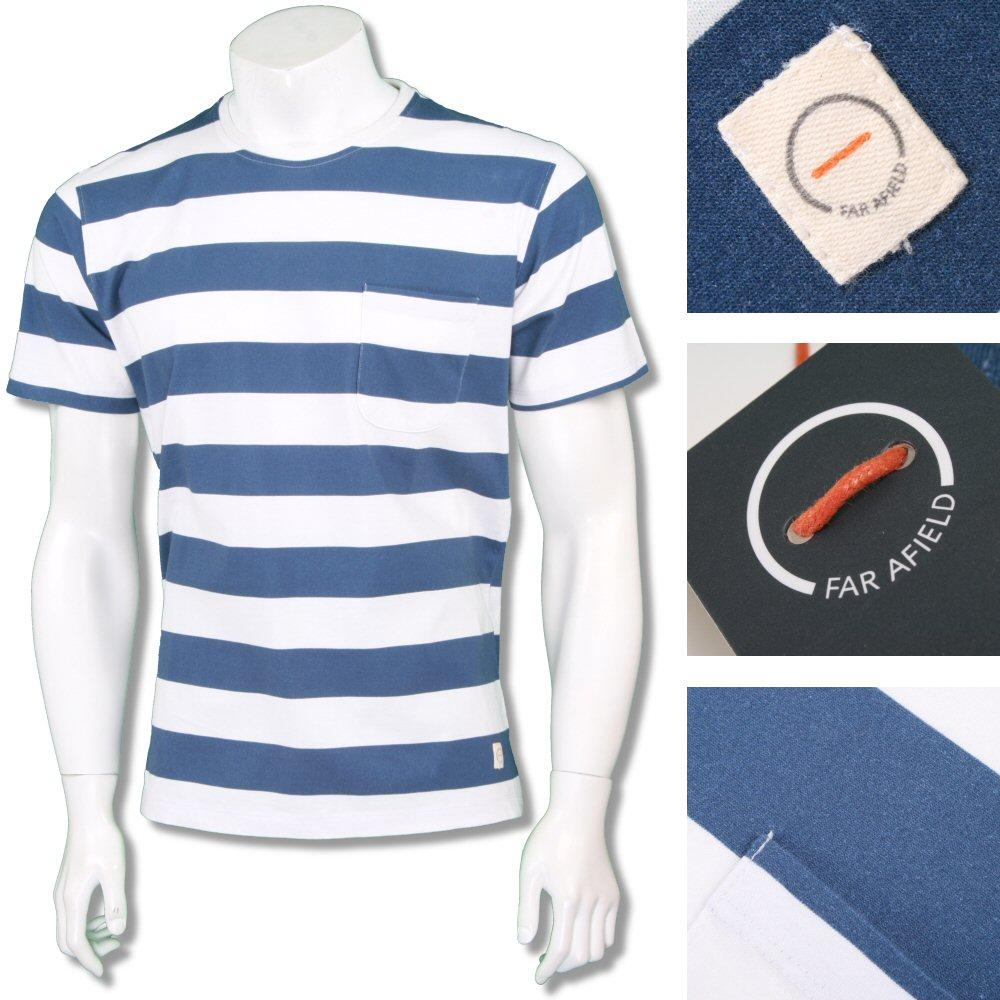 Far Afield Mens Retro Bold Stripe Crew Neck T-Shirt Blue
