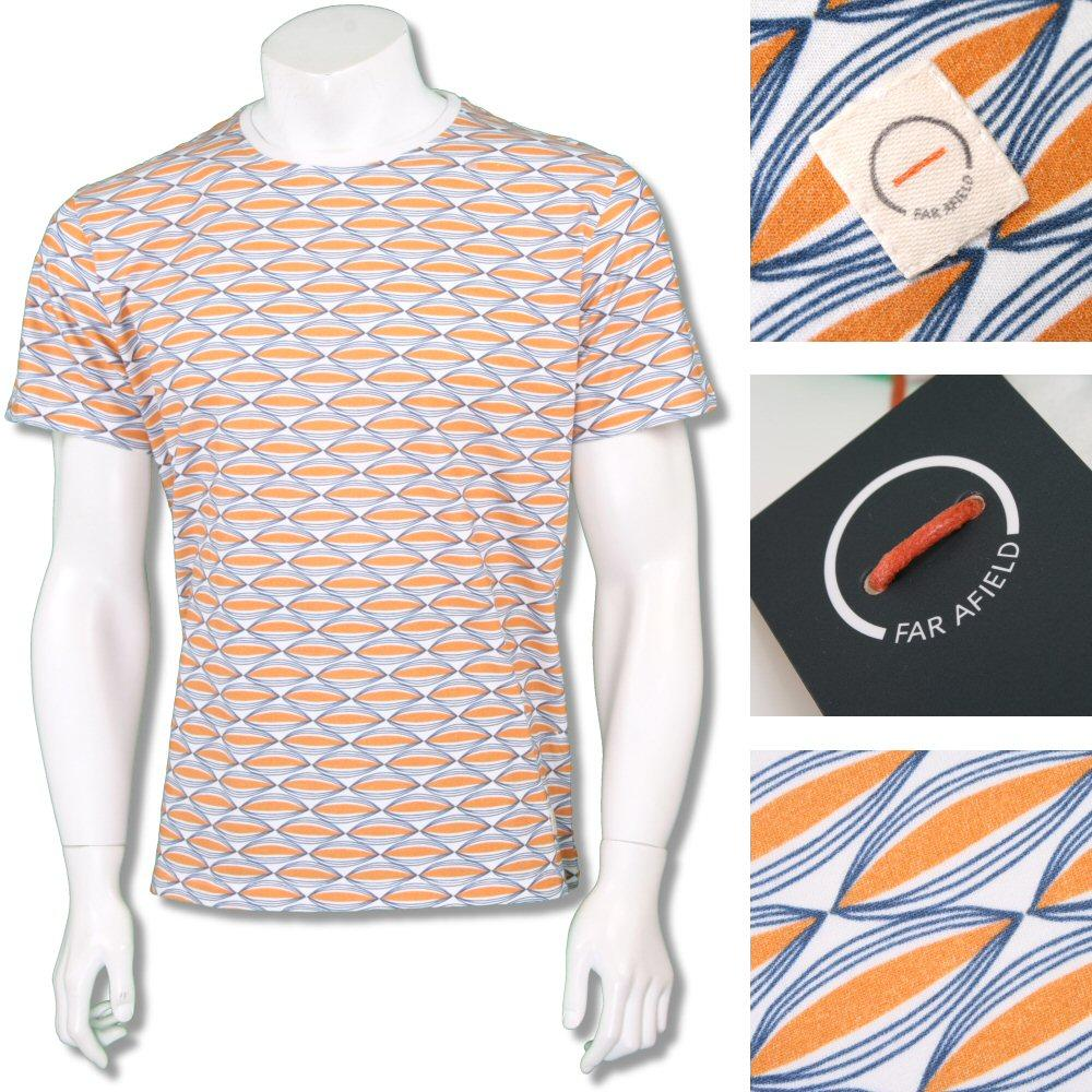 Far Afield Mens Retro Patterned Crew Neck T-Shirt Orange