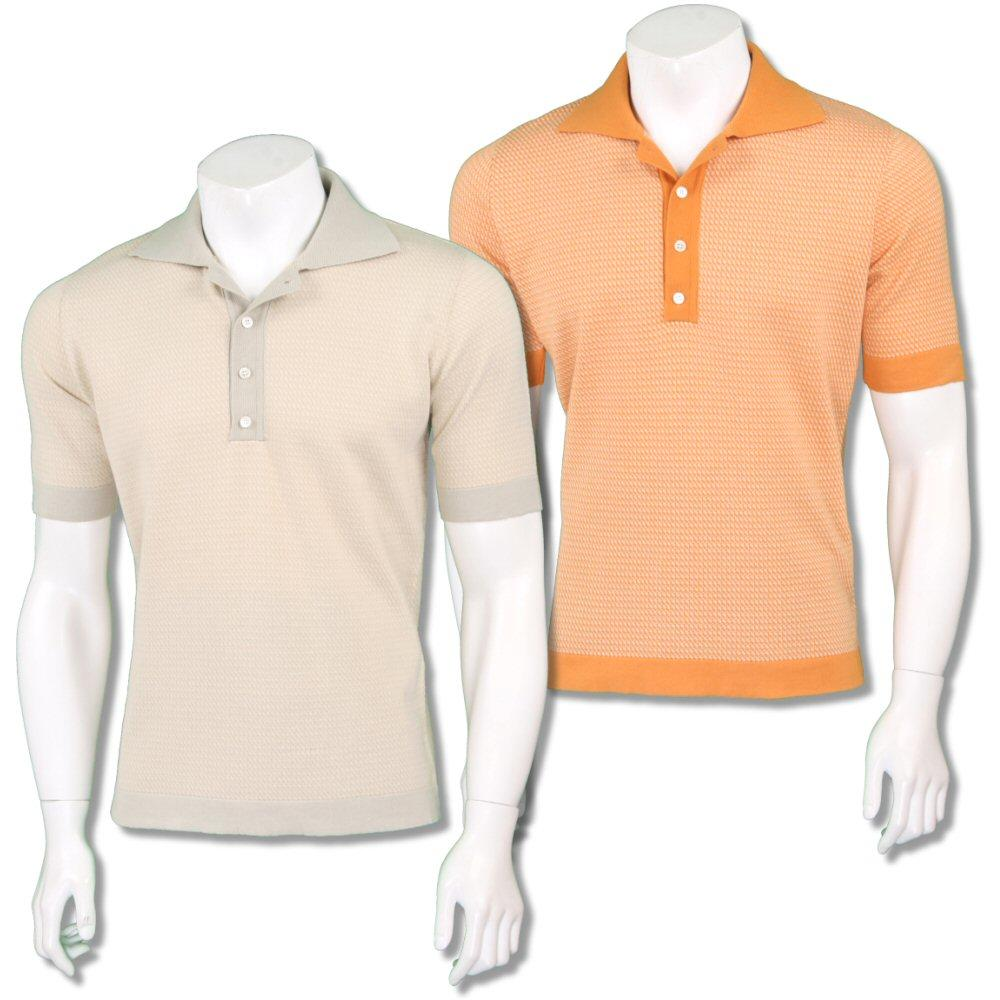 Far Afield Mens Retro Cut Away Collar Knit Polo