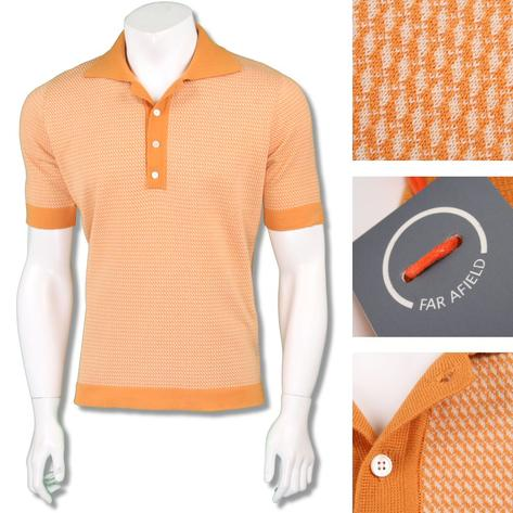 Far Afield Mens Retro Cut Away Collar Knit Polo Thumbnail 3