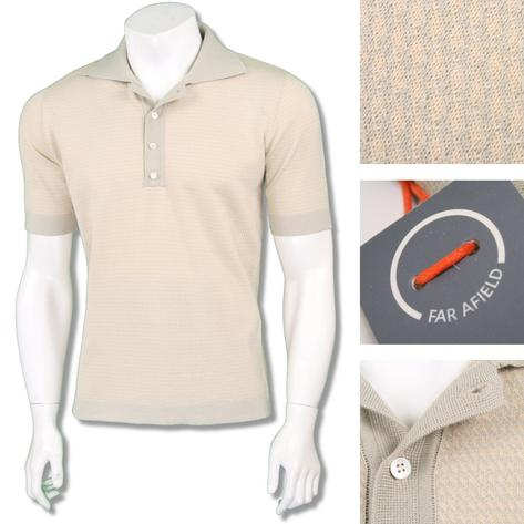 Far Afield Mens Retro Cut Away Collar Knit Polo Thumbnail 2