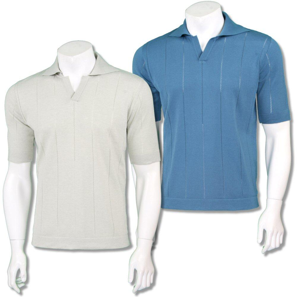 Far Afield Mens Retro V-Collar Stripe Knit Polo Shirt