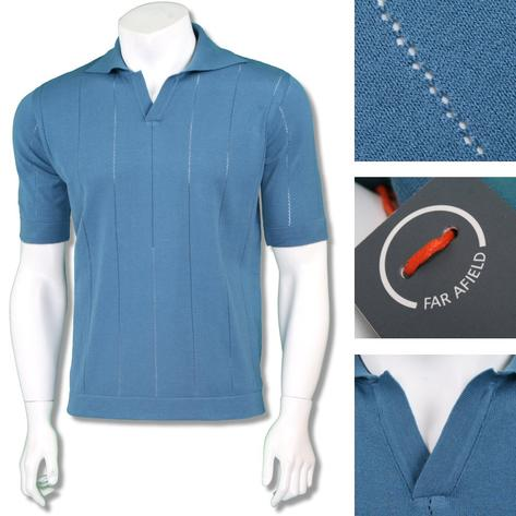 Far Afield Mens Retro V-Collar Stripe Knit Polo Shirt Thumbnail 3