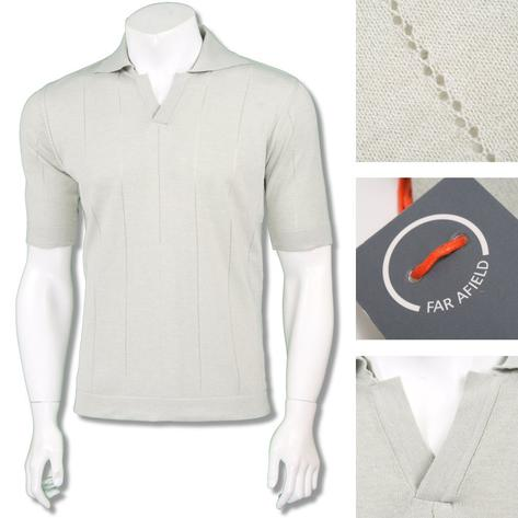 Far Afield Mens Retro V-Collar Stripe Knit Polo Shirt Thumbnail 2