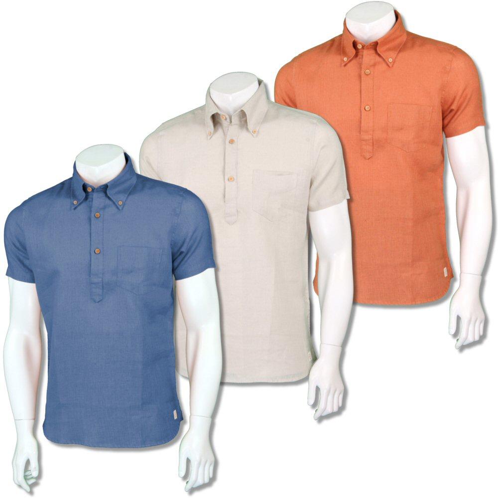 4391a3bc Far Afield Mens Retro Plain Linen Pop Over Shirt | Adaptor Clothing