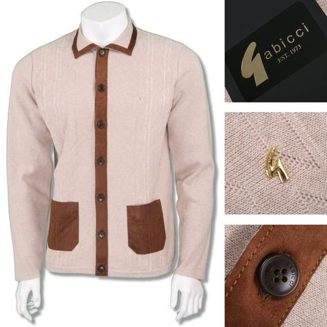 Gabicci Vintage Mens Retro Faux Suede Placket Knit Cardigan Cream Thumbnail 1