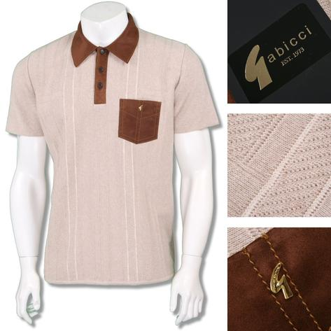 Gabicci Vintage Mens Faux Suede Pocket & Collar Knit Polo Cream Thumbnail 1