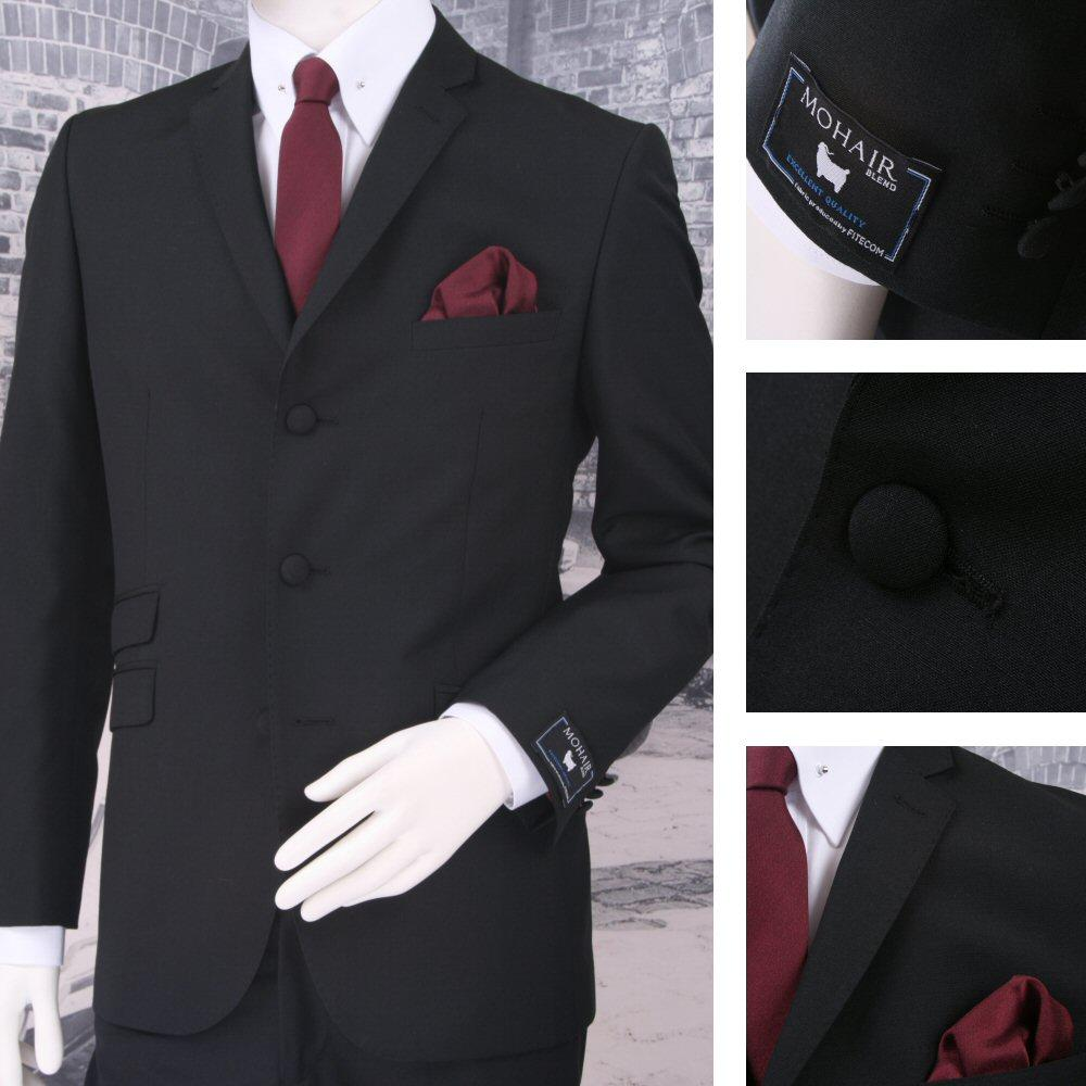 Adaptor Clothing Mod 60's Retro 3 Button Slim Mohair Jacket Black