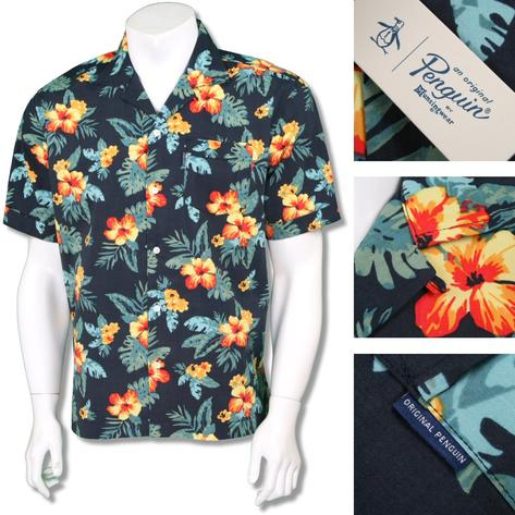 Penguin Original Mens Retro Revere Collar Floral Shirt Black Thumbnail 1