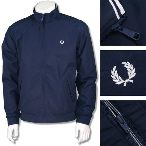 Fred Perry Mens Mod Funnel Neck Bomber Jacket Navy Thumbnail 1