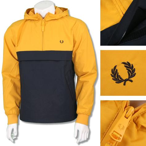 Fred Perry Mens Mod Quarter Zip Hooded Cagoule Yellow Thumbnail 1