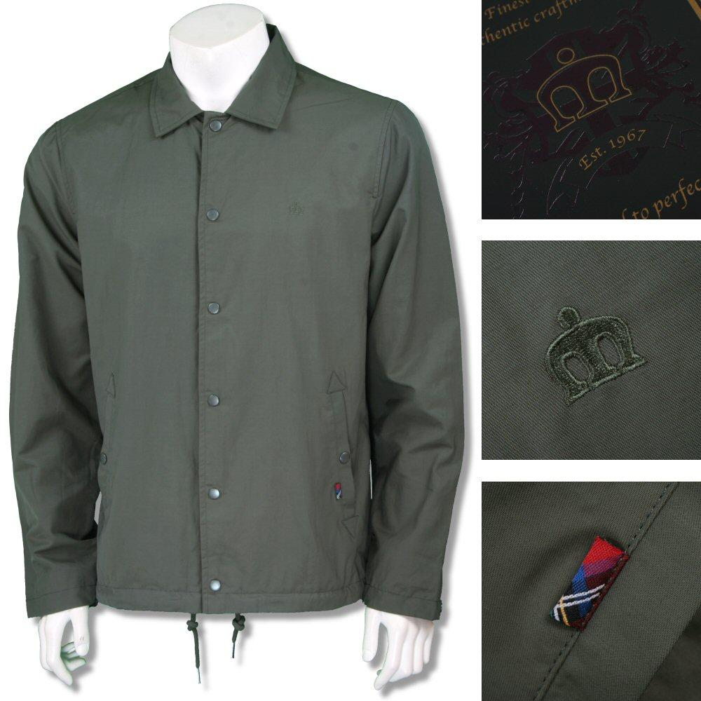 Merc London Mens Button Through Windbreaker Khaki