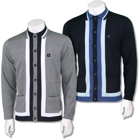 Gabicci Vintage Mens Retro Stripe Button Through Cardigan