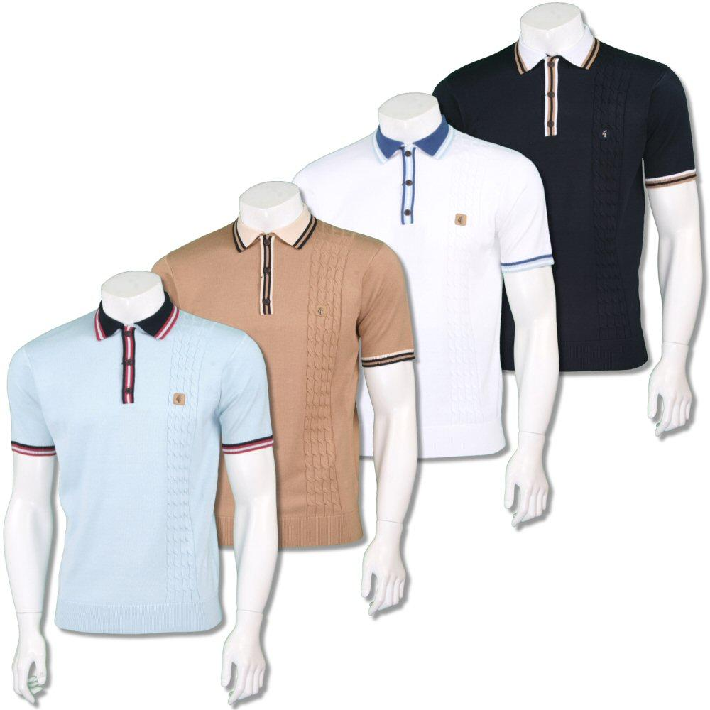 Gabicci Vintage Mens Retro Cable Knit Racing Stripe Polo