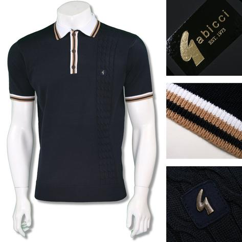 Gabicci Vintage Mens Retro Cable Knit Racing Stripe Polo Thumbnail 5
