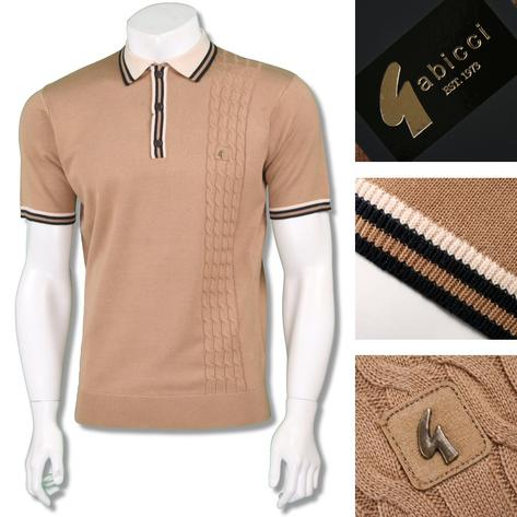 Gabicci Vintage Mens Retro Cable Knit Racing Stripe Polo Thumbnail 3