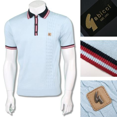 Gabicci Vintage Mens Retro Cable Knit Racing Stripe Polo Thumbnail 2