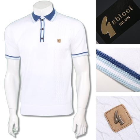 Gabicci Vintage Mens Retro Cable Knit Racing Stripe Polo Thumbnail 4
